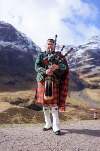 Scottish Bagpiper in Glen Coe