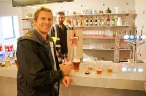 Sampling the beer selection