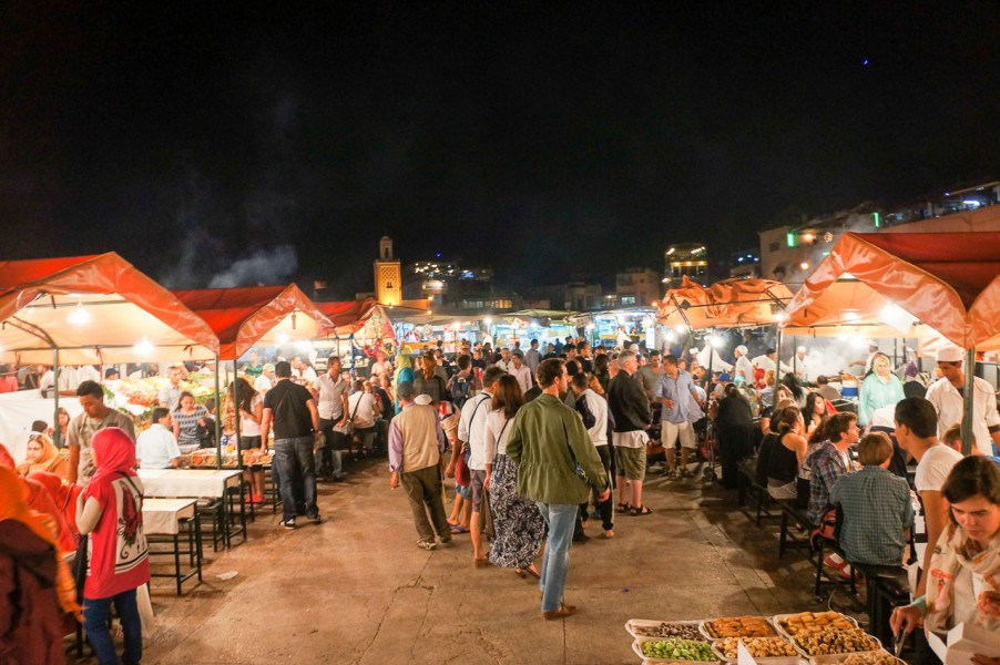 Night street markets in the main square of Marrakech