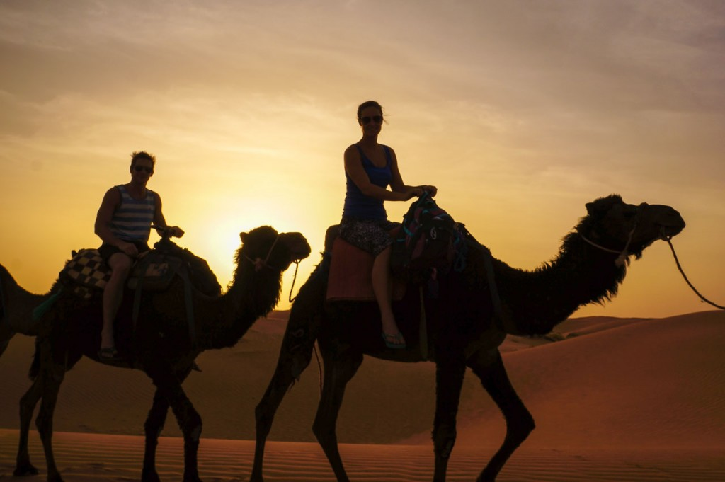Camel Riding Sunset