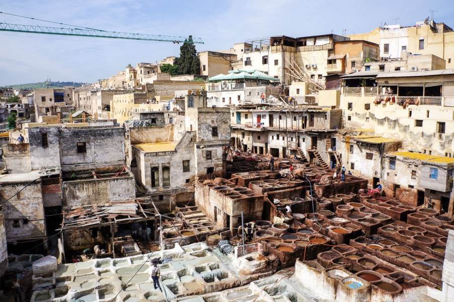 The tanneries of Fez, where they make leather.