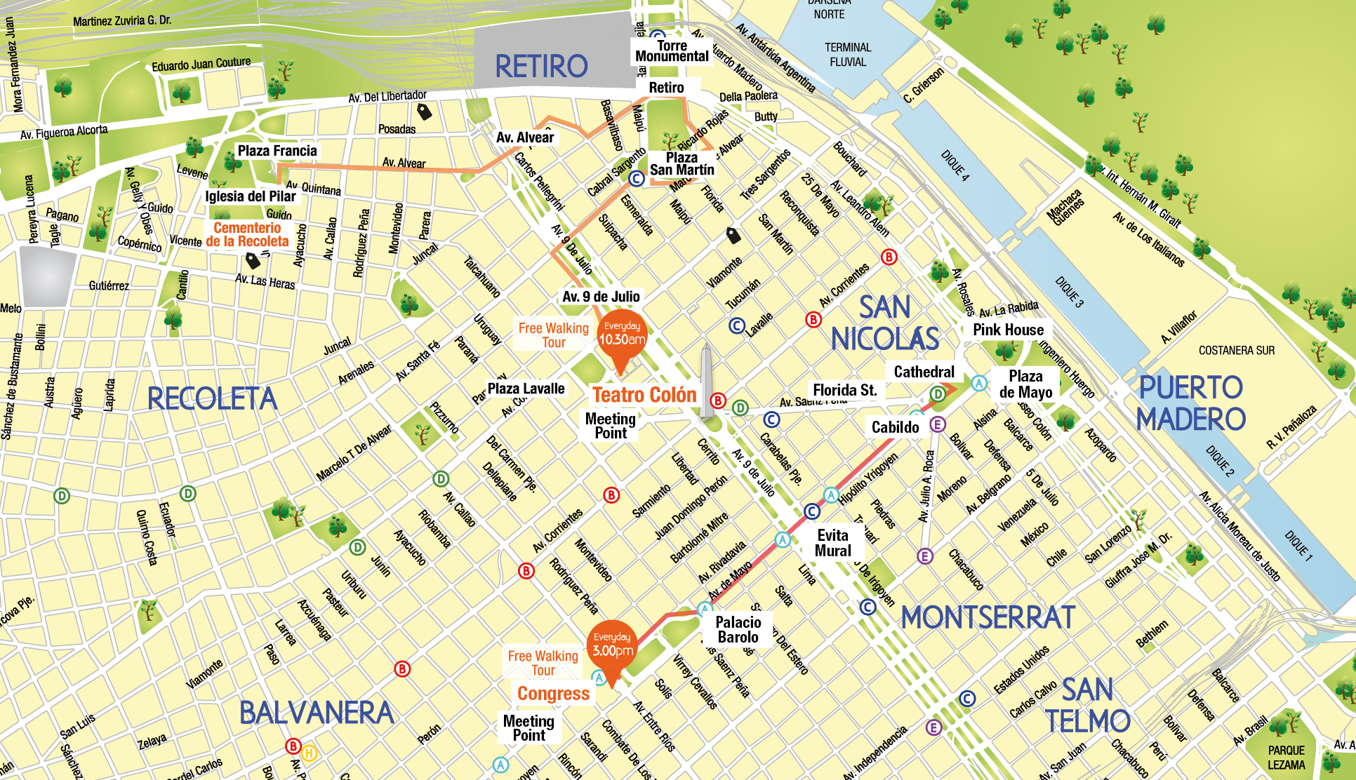 Buenos Aires City Map English – Buenos Aires Tourist Map
