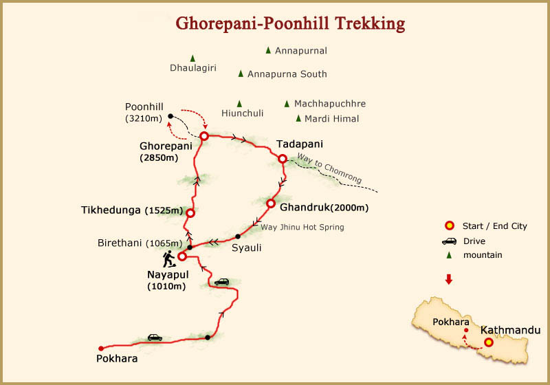 Ghorepani Poon Hill Trek Map