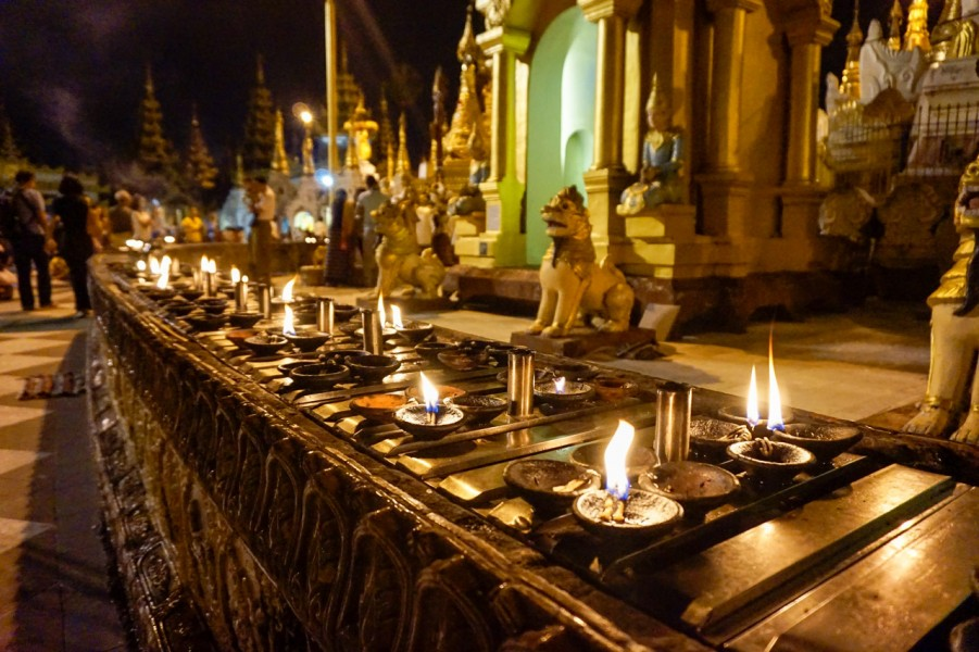Candels at the Shwedagon Pagoda