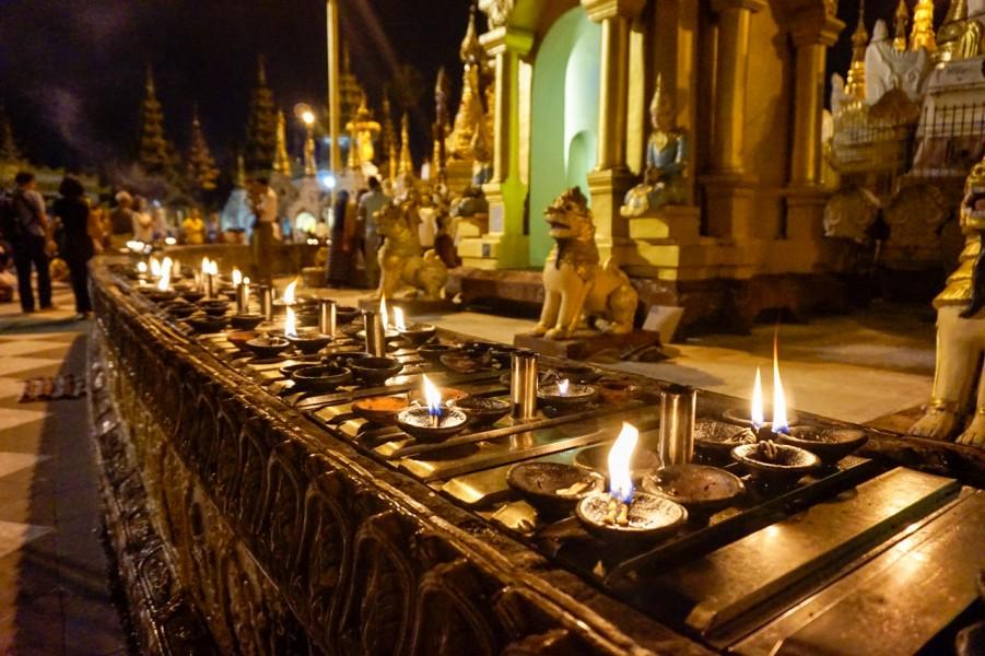 Candels at the Shwedagon Pagoda