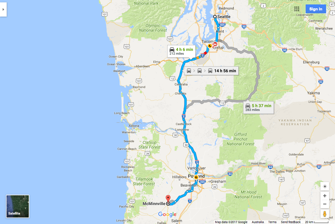 Seattle to McMinnville