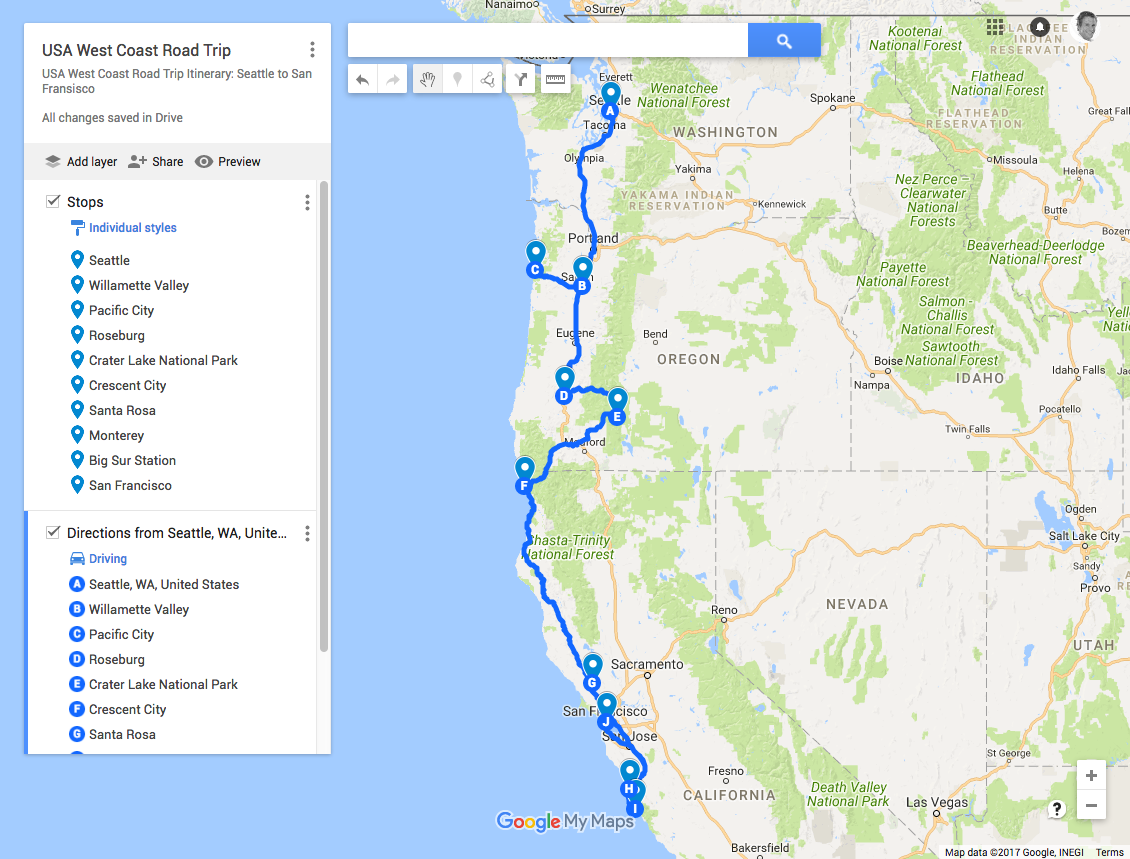 USA West Coast Road Trip Map Guide Itinerary
