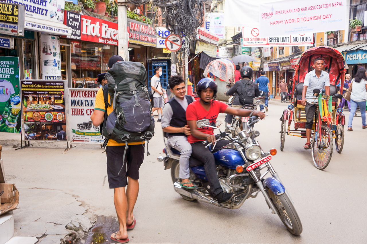 Crossing the streets of Nepal